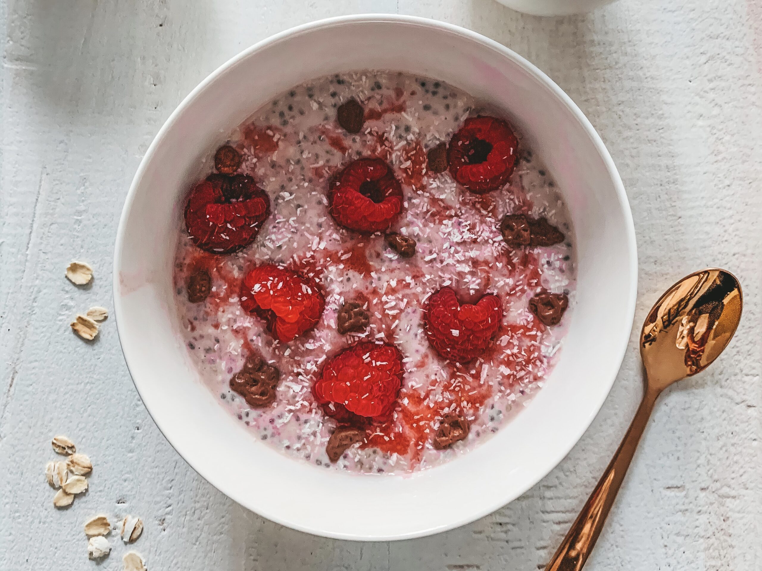 Aardbeien chia pudding met havermout