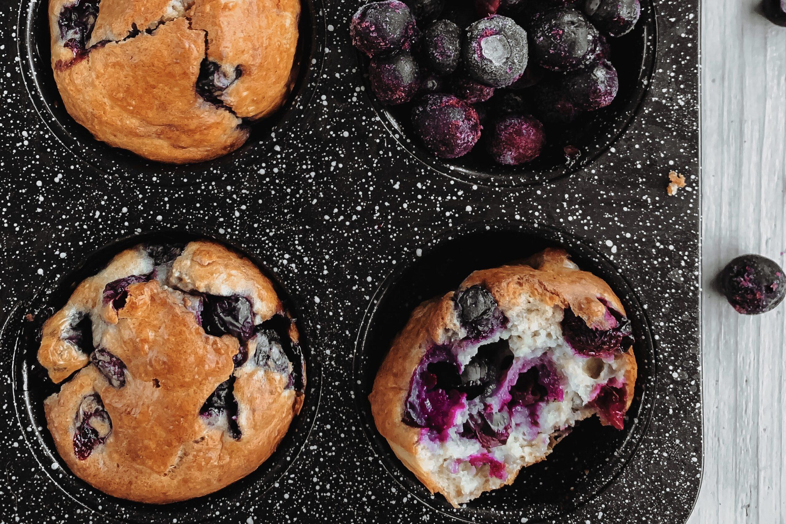 Kwark muffins met blauwe bessen